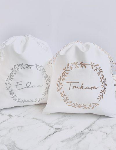 Christmas Wreath cotton gift bag
